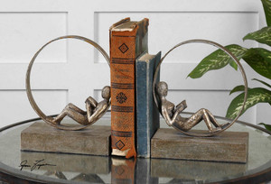 Lounging Reader Bookends S/2 by Uttermost