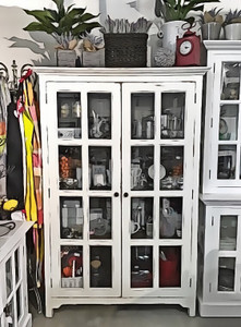 Hamptons Glass Door Bookcase - Main: White, heavy distress - Inside: Antique Oak