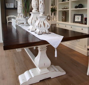 Provincial Trestle Dining Table 240cm - White Heavy Distressed /TKB