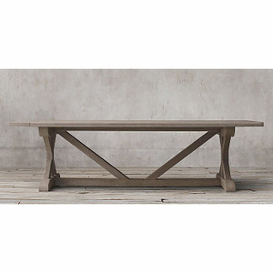 Hamptons X-Base Dining Table 240cm - Smokey Grey