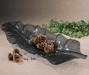 Smoked Leaf Tray by Uttermost