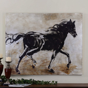 Blacks Beauty Hand Painted Canvas by Uttermost