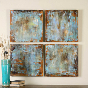 Accent Tiles Hand Painted Canvases S/4 by Uttermost