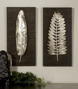 Silver Leaves Metal Wall Panels S/2 by Uttermost