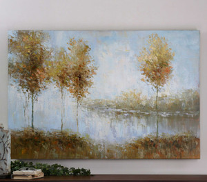 View Of The Lake Hand Painted Canvas by Uttermost