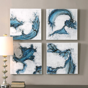 Swirls In Blue Hand Painted Canvases S/4 by Uttermost