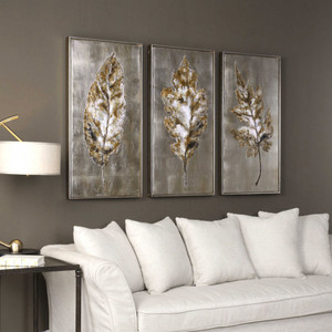 Champagne Leaves Hand Painted Canvases S/3 by Uttermost