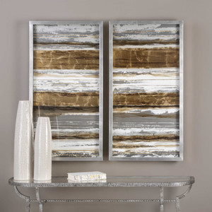 Metallic Layers Hand Painted Canvases S/2 by Uttermost