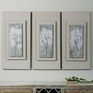 Triptych Trees Hand Painted Canvases S/3 by Uttermost