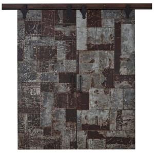 Urban Double Sliding Door w/ Recycle Tin - Size: 228H x 350W x 8D (cm)