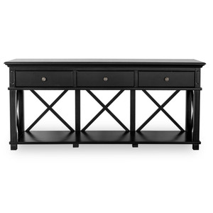 Hamptons Cross Sorrento Console Table 3 Drawer - Black