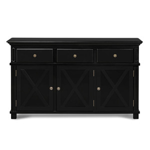 Hamptons Cross Sorrento Sideboard 3 Door - Black