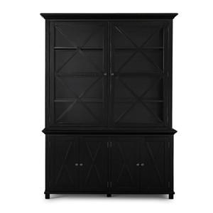 Hamptons Cross Sorrento Display Cabinet 2 Door - Black