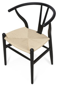 Scandinavian Woven Wishbone Beechwood Chair - Black - Size: 75H x 54W x 55D (cm)
