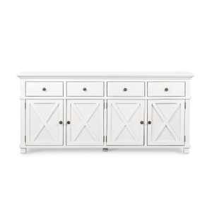 Hamptons Cross 4 Door Buffet Sideboard - White - Size: 188(W) x 50(D) x 85(H)cm