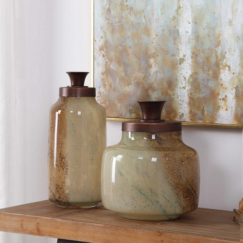 Elia Glass Containers S/2 by Uttermost