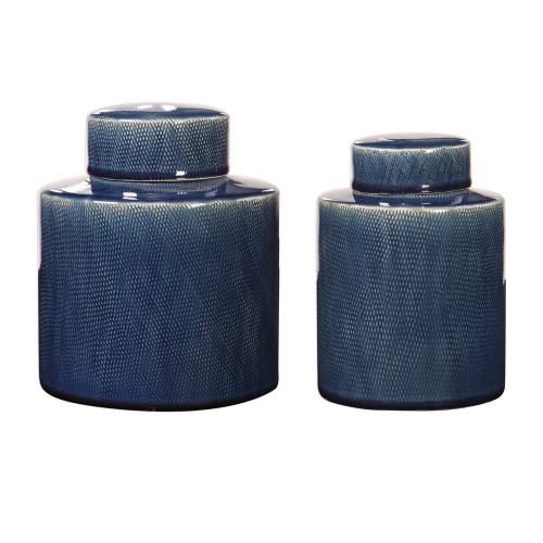 Saniya Blue Containers S/2 by Uttermost