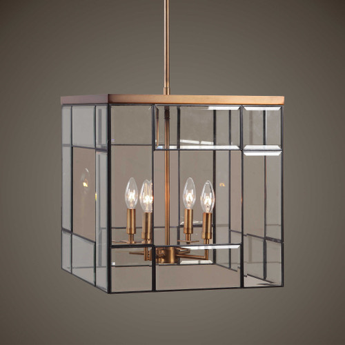 Romilly 4 Light Antique Brass Pendant by Uttermost
