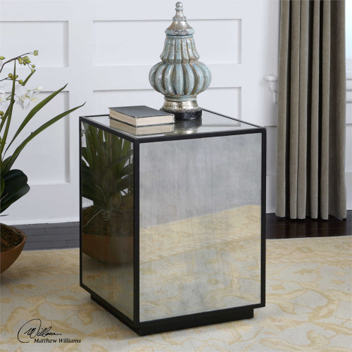 Matty Mirrored Side Table - by Uttermost