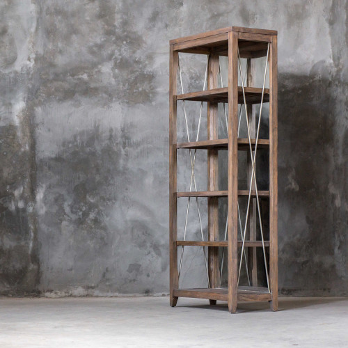 Delancey Weathered Oak Etagere by Uttermost