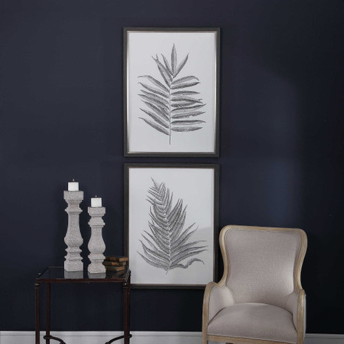 Silver Ferns Framed Prints S/2 by Uttermost