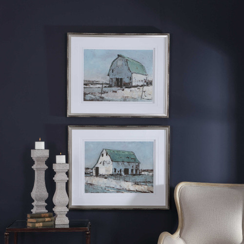 Plein Air Barns Framed Prints S/2 by Uttermost