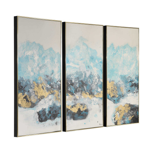 Crashing Waves Hand Painted Canvases S/3