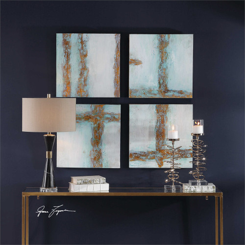 Cross Roads Hand Painted Canvases S/4 - by Uttermost