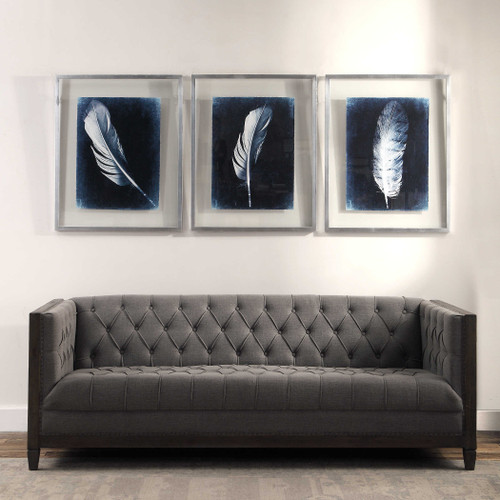 Inverted Feathers Framed Prints S/3 by Uttermost