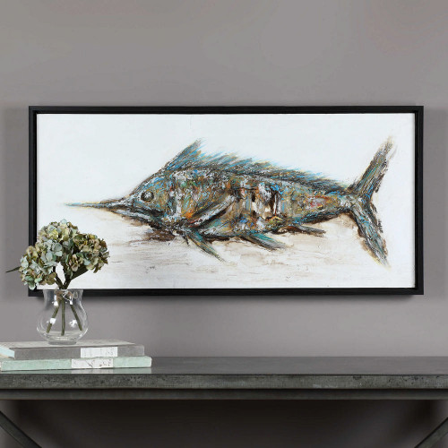 Blue Marlin Hand Painted Canvas by Uttermost