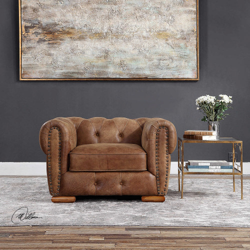 Johnson Leather Lounge Chair by Uttermost