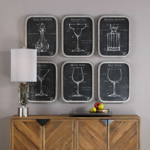 Barware Blueprints Framed Prints S/6 by Uttermost