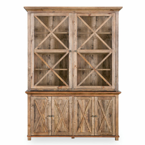 Hamptons Cross Sorrento Display Cabinet 2 Door - Natural
