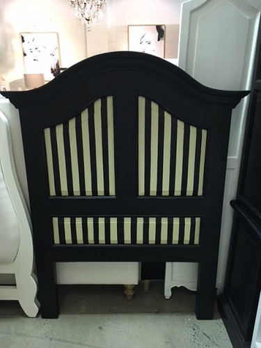 Provence Twin Headboard - Black Light Distressed /A12