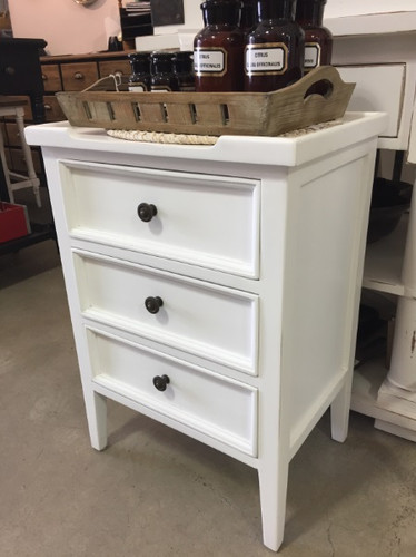 Eton 3 Drawer Side Chest - Architectural White, Light Distress