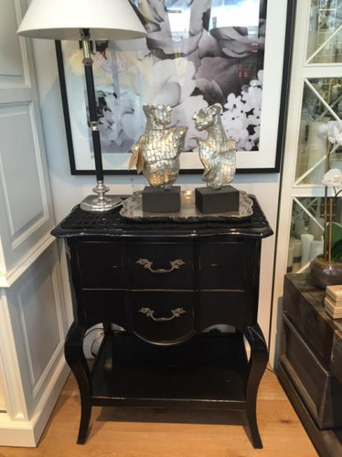 Elise Lamp Table - Black Shiny, Heavy Distress BKS