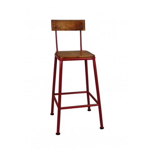 Industrial Breakfast Stool with Back - Red