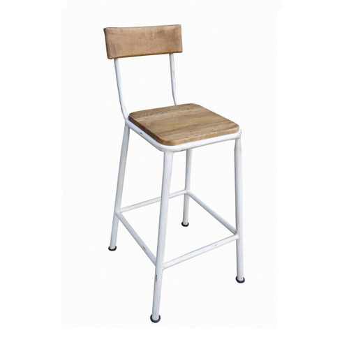Industrial Breakfast Stool - White - metal with wood