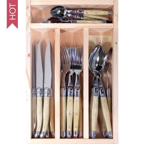 Laguiole Jean Dubost 24 Piece Cutlery Set - Light Horn