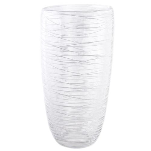 Swirl Glass Vase - White 28cm