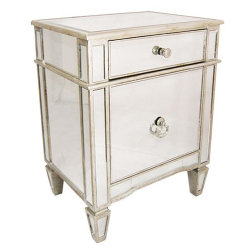 Antique Mirrored Bedside Cabinet - Size: 72H x 56W x 41D (cm)
