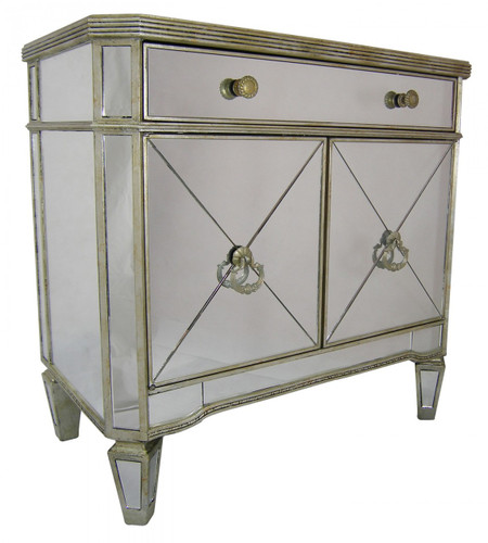 Antique Mirrored Buffet Small - Size: 74H x 76W x 43D (cm)