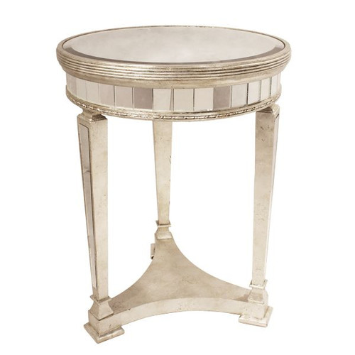 Antique Mirrored Round Table w/Base - Size: 66H x 55W x D (cm)