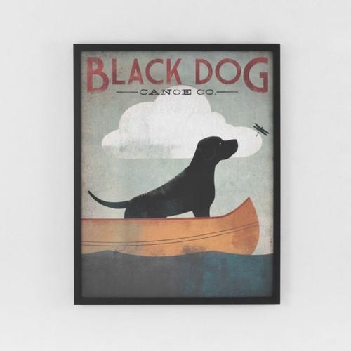 Framed Print: Black Dog Canoe