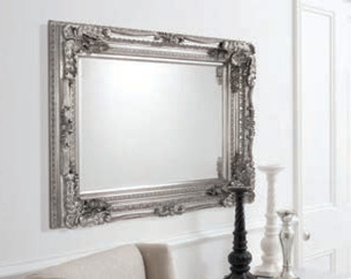 "Carved Louis Mirror Silver 47x35.5"""" Gallery Direct"""""