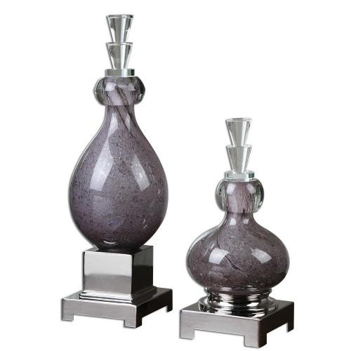 Charoite Bottles S/2 by Uttermost