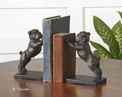 Bulldogs Bookends S/2 by Uttermost
