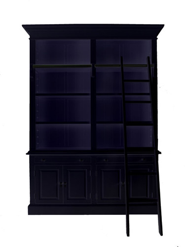 Marseille 4 Door Bookcase + Ladder (Black)