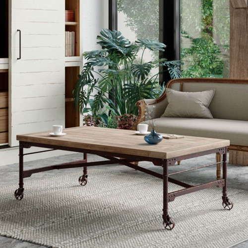 Mercantile Coffee Table - Industrial Iron Wood
