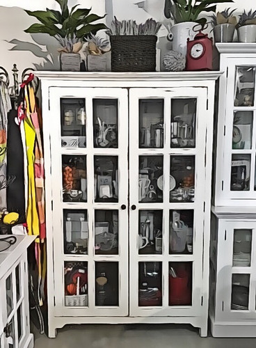 Hamptons Glass Door Bookcase - Main: White, heavy distress - Inside: Antique Oak